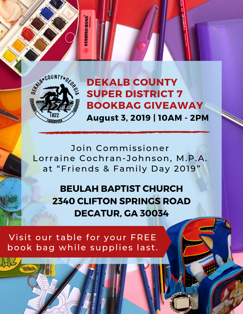 Dekalb County Super District 7 Book Bag Giveaway